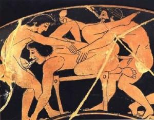 Uma pintura grega com una cena de sexo