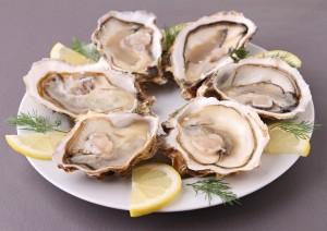 Um prato de ostras